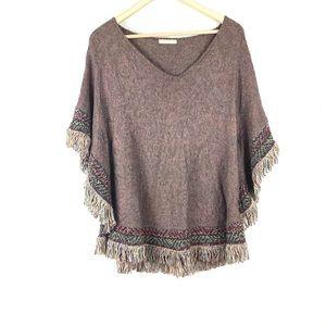 Cecilia prado- fringe hem metallic poncho sweater